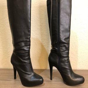 Sexy Aldo Black Leather Platform Boots Size 5